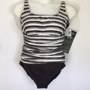 Miraclesuit One Piece Fauxkini Striped Swimsuit